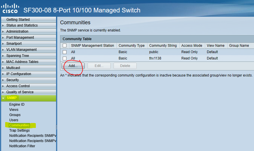 Cisco SF and SG series SNMP Configuration